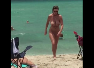 Big boobs nude beach